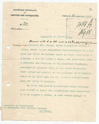 EGYPT ÄGYPTEN 1910 LETTER SIGNED BY GERMANY Émile Brugsch LOT 1