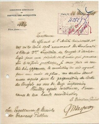 Egypt Ägypten 1909 Rare Letter Signed By France Gaston Maspero Lot 1