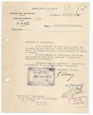 EGYPT ÄGYPTEN 1923 LETTER SIGNED by France Georges Émile Daressy LOT 13