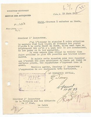 EGYPT ÄGYPTEN 1923 LETTER SIGNED by France Georges Émile Daressy LOT 4