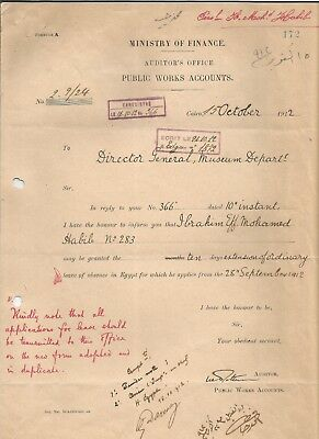 EGYPT ÄGYPTEN 1912 LETTER SIGNED by France Georges Émile Daressy LOT 15