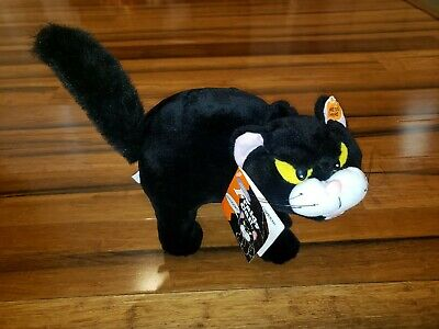 """4125 Large 13/"""" Hairless Black Cat Arched Back Hissing Halloween Dead Zombie"""