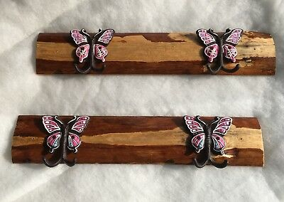 New Handmade Coat Hook Rack With Hand Painted Butterfly Hooks, Rustic Wooden Two