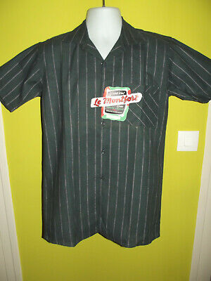 VINTAGE FRENCH BRAND NEW WITH TAGS 1950s ROCKABILLY SHORT SLEEVED SHIRT STRIPE