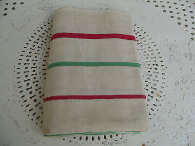 6 Vintage French Metis Linen Tea Towels Torchons Unused Brand New Red Green