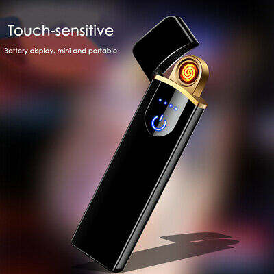 Cigarette Lighter Windproof Flameless Plasma Double Touch Sensor Electric USB UK