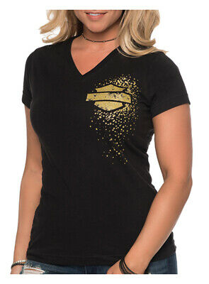Harley-Davidson Women's Gold Metallic Cluster B&S Short Sleeve T-Shirt - Black