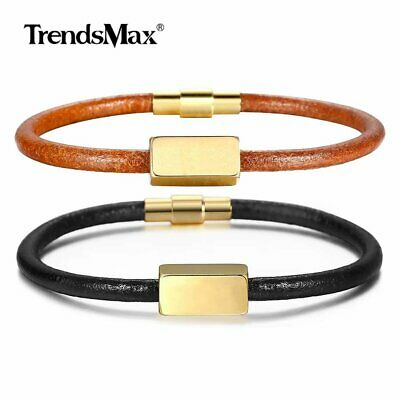 Unisex 4mm Genuine Leather Bracelet Gold Plated Charm Engraved Magnetic Clasp
