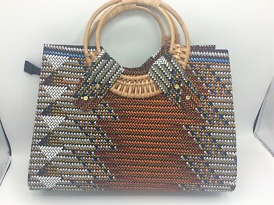 Handbag Kente Ankara Africa Print zipped wicker handles Boho Ghana Fabric