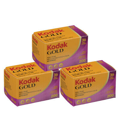 3 Rolls Kodak Gold 200 Color Negative Film 135-36 35mm Roll Film - 36 exposures