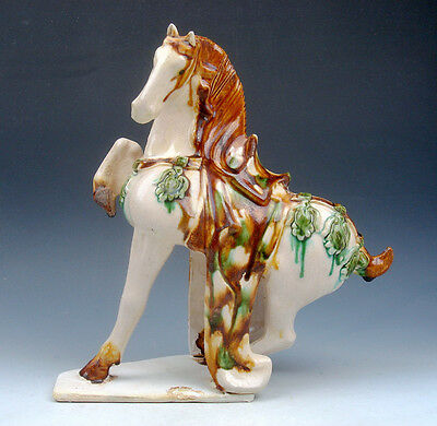 "9"" Chinese SanCai Hand Glazed Crafted Pottery Running Horse 1-Leg Up #06151404"