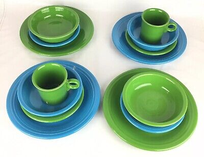 Fiestaware Set of 4 Dishes Green Blue Dinner Plate Salad Plate Cereal Bowls Mugs