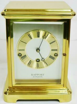 Vintage Brass & Glass Rapport London Musical Triple Chime 4 Glass Mantle Clock