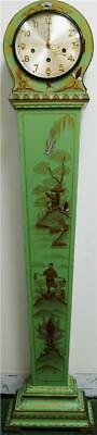 Luxury Antique English Green Chinoiserie 8Day Musical 1/4 Chiming Longcase Clock
