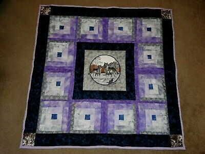 "WOLVES AT TWILIGHT  HOMEMADE  PATCHWORK  QUILT LAP 48"" SQUARE wolf log cabin"