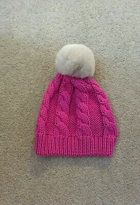 GAP Baby Girls IVORY Cream Cable Knit Beret Fur Pom Pom Hat Cotton Knit 0-12m