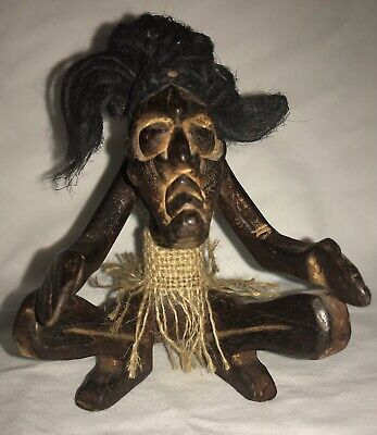 Wooden Figurine African Tribal Tiki Hand-Carved Man Wood Statue Sitting/kneeling