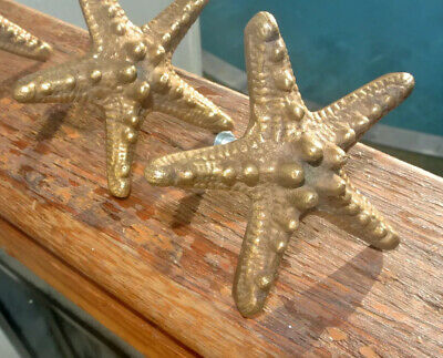 2 small STAR FISH solid 100% BRASS knobs TROPICAL VINTAGE old style 70mm B