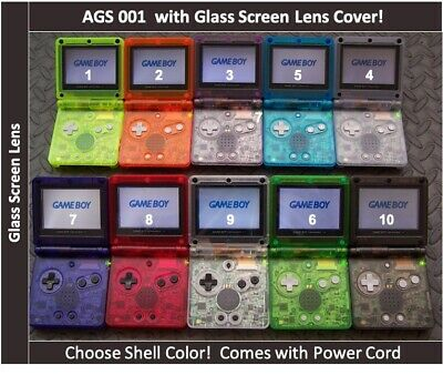 Game Boy Advance SP Handheld System AGS 001 w/glass screen-Pick CLEAR color!