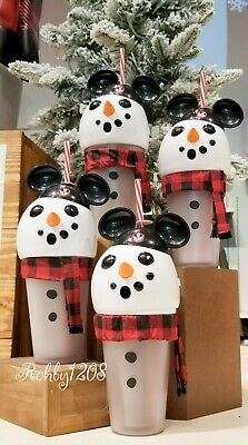 Disney Parks Seasons Greetings Mickey Earhat Snowman Light Up Tumbler w/ Straw