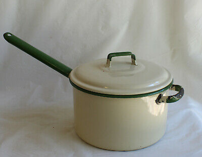 Green & Cream ENAMEL Ware SAUCEPAN Genuine Vintage Pot Shabby Kitchenalia