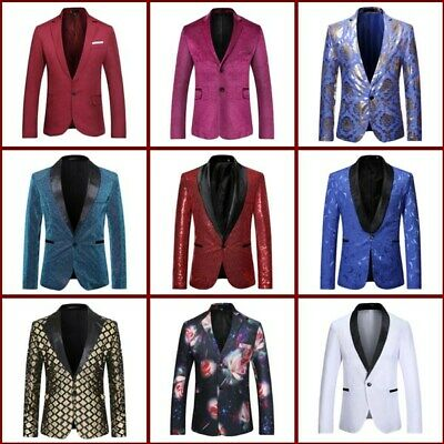 Sequins Coat Blazer Mens Shining Business Jacket Suit Formal Club Wear Party