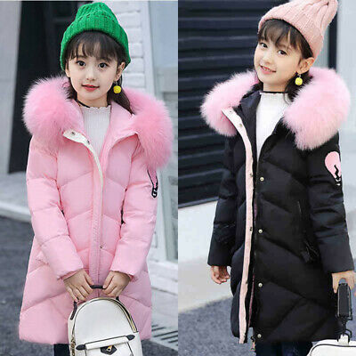 Baby Girls Kids Padded Thick Parka Long Warm Faux Fur Jacket Hooded Coat Winter