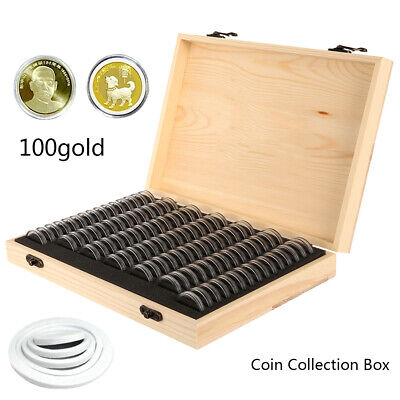Wooden Coins Display Storage Box Case Holder Collectible Coin w/ 100 Capsules AU