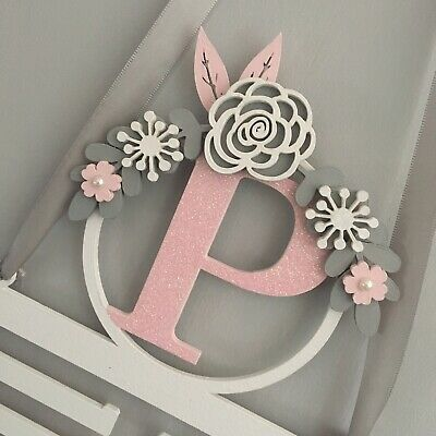 Personalised bow holder. Wooden letter Glitter Hair accessories Bows Clips