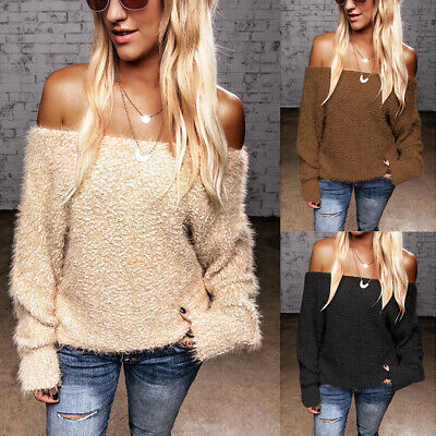 Women Off Shoulder Long Sleeve Tops Ladies Baggy Fluffy Fur Loose Blouse T Shirt