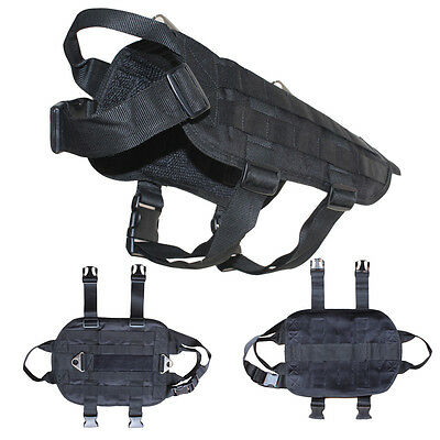 TACTICAL POLICE K9 Training Pet Dog Vest Harness 2 Patches SERVICE DOG