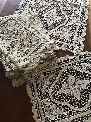 12 x Matching Vintage Lace Placemats + Long Table Runner Coasters Ecru Cream