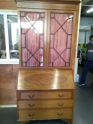 ANTIQUE INLAID MAHOGANY BUREAU BOOKCASE CIRCA 1890 / DESK Victorian Reduced