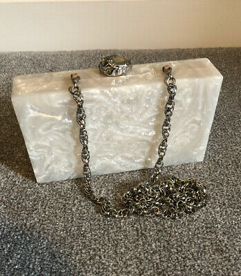 Beautiful Perspex Box Clutch With Magnetic Closing Silver Chain And Clasp
