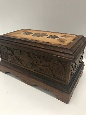 """Vintage Carved Marquetry Inlaid Wood Box 9""""x5""""x4.5"""" Brass Hinges"""