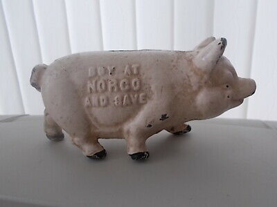 Vintage Cast Iron Piggy Savings Bank Moneybox - Buy At Norco And Save
