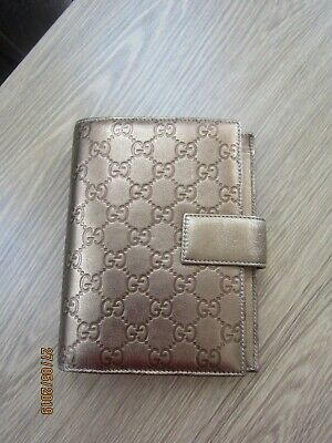 Beautiful Vintage Gucci Gg Leather Agenda In Rich Gold Leather