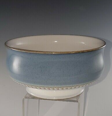 Denby Stoneware CASTILE Blue and Gray Footed CEREAL or SOUP Bowl(s) MINT