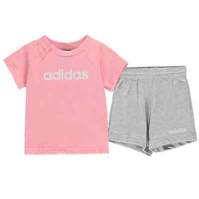 adidas Kids Girls T Shirt and Shorts Set Baby Clothing Pants Trousers Bottoms