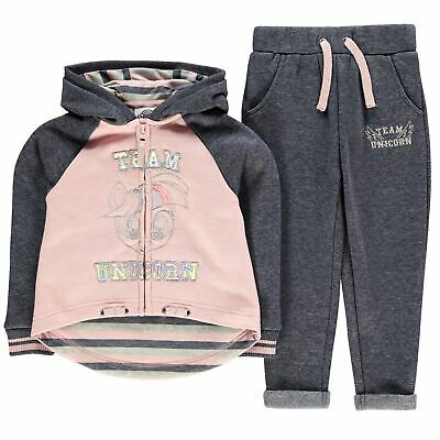 Character Kids Girls Jogging Set Infant Fleece Tracksuit Hooded Zip Elasticated