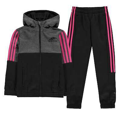 adidas Kids Girls Hojo Tracksuit Junior Fleece Long Sleeve Hooded Zip Full