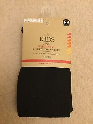 M&S Girls Black Thermal Tights Age 13-14 Years