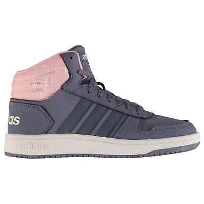 adidas Kids Girls Hoops Mid Junior Trainers High Top Lace Up Textured