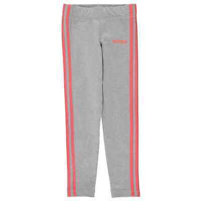 adidas Kids Girls 3 Stripe Tights Performance Pants Trousers Bottoms Breathable