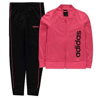 adidas Kids Girls Linear Poly Tracksuit Junior Zip Full Drawstring Elasticated