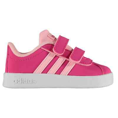 adidas Kids Girls VL Court 2 Infant Trainers Suede Padded Ankle Collar Touch and