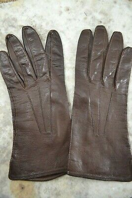 VINTAGE 1960s brown kid leather gloves size 7