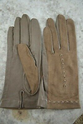 VINTAGE 1970s taupe suede and leather gloves size 7 1/2 light brown