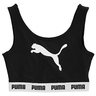 Puma Kids Girls Tape Crop Top Junior Sports Bra Crew Neck Stretch Print