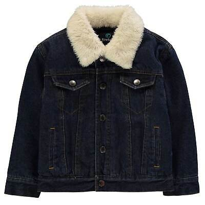 Firetrap Kids Boys Lined Denim Jacket Infant Coat Top Cotton Chest Pocket
